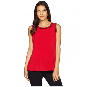 Sleeveless Woven Pullover Top w/ Trim Scarlet