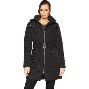 """Multi Quilt 35"""" Belted Puffer Black"""
