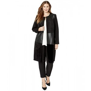 Plus Size Topper Jacket with PU/Suede/Velvet
