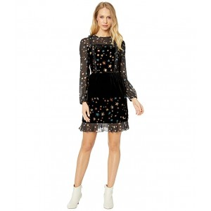 Colour By Numbers Mirres Long Sleeve Devore Star Dress Black