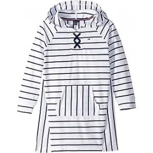 Hooded Lace-Up Sweatshirt Dress (Big Kids) White