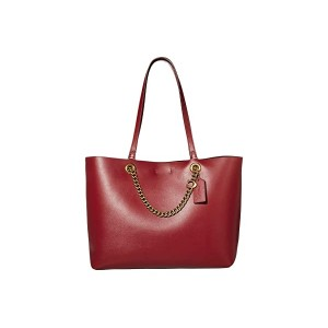 COACH Signature Chain Convertible Tote Deep Red/Brass
