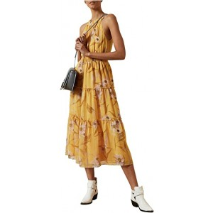 Saffine Cabana Printed Tiered Midi Dress Yellow