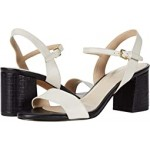 Josie Block Heel Sandal Ivory Leather/Black Embossed Leather Heel