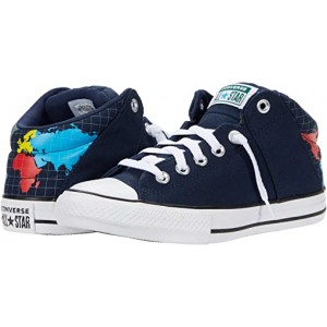Converse Kids Chuck Taylor All Star Axel - Mid (Little Kidu002FBig Kid) Obsidian/Sail Blue/White