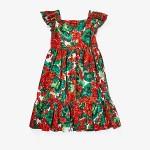 Dolce & Gabbana Kids Portofino Print Poplin Dress (Big Kids) Geranium Print