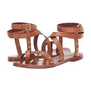 Ravello Studded Ankle-Wrap Sandal Tan