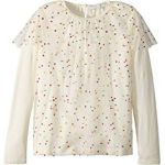 Popcorn Ruffled Tulle Overlay Long Sleeve Top (Toddler/Little Kids/Big Kids)