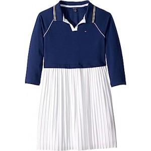 Pleated Polo Dress (Big Kids) Flag Blue