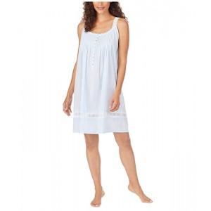 Cotton Dobby Stripe Woven Sleeveless Short Nightgown