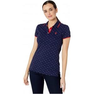 U.S. POLO ASSN. Dot Print Polo Shirt Evening Blue
