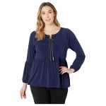 Plus Size Solid Chain Neck Top True Navy