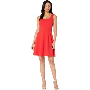 Drapey Crepe Sleeveless Fit & Flare Dress w/ Scallop Neckline Apple