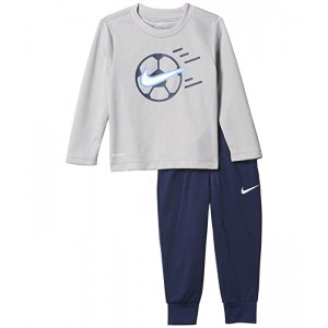 Nike Kids Dri-FIT Thermal T-Shirt and Pants Two-Piece Set (Toddler) Midnight Navy