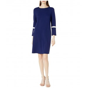 Bell Sleeve Knit Color-Block Dress Distant Mountain/Anne White