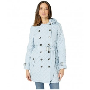 Double Breasted Belted Quilt with Hood Powder Blue