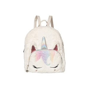 OMG! Accessories Sugar Glitter Plush Mini Backpack White