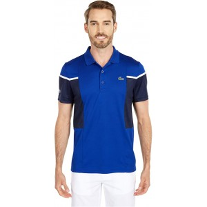 Short Sleeve Mesh Inset Color-Block Polo