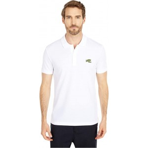 Lacoste Short Sleeve Solid Polo Embroidered Animation Badge on Chest Greet White