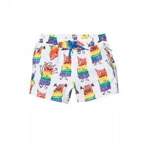 Stella McCartney Kids Rainbow Monster Swim Shorts (Infant) White Multi