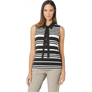 Stripe Collared Mixed Media Top Black/Ivory