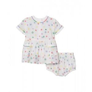 Short Sleeve Stars Embroidered Dress (Infant)