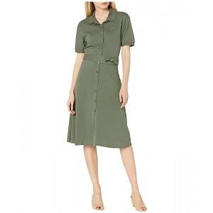 Short Sleeve Button Through Belt Pique Dress