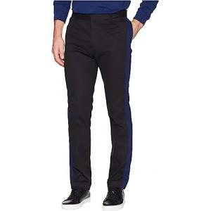 Contrast Stripe Cotton Stretch Pants Black