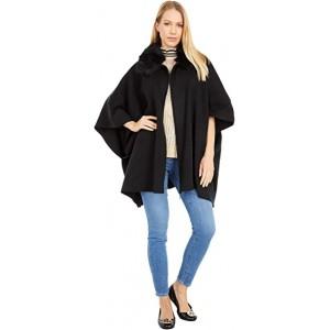 Zip-Up Sweater Shawl Black