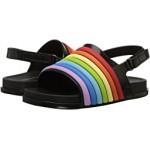 Mini Beach Slide Sandal Rainbow (Toddler/Little Kid) Black Colorful
