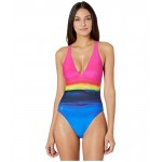 Polo Ralph Lauren Dip-Dye Plunge X-Back Mio One-Piece Multi