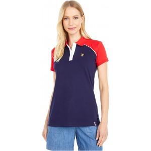 U.S. POLO ASSN. Color-Block Shoulder Sleeve Polo Evening Blue