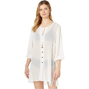 Solid Logo Chain Button Front Cover-Up Top