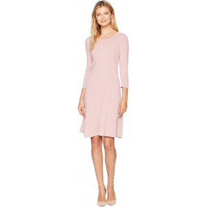 3/4 Sleeve Shift Sweater Dress w/ Pearl Details Mauve