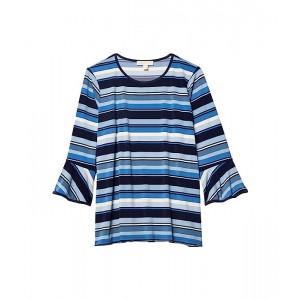 Plus Size Court Stripe Flutter Sleeve Top