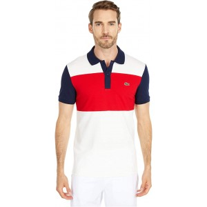 Short Sleeve Striped Color-Blocked Polo