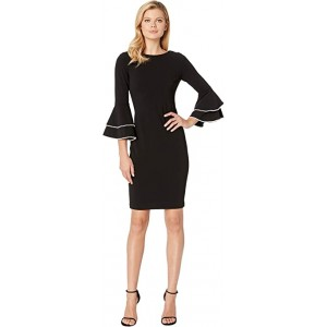 Tiered Bell Sleeve with Pearl Trim CD8C25HV Black