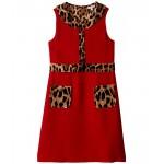 Dolce & Gabbana Kids Cady Dress with Leopard Print Details (Big Kids) Rosso Brillante