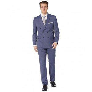 Striped Double-Breasted Suit Denim Blue