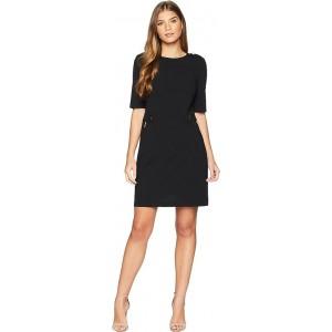 Ponte Dress w/ Zips & Hardware Black
