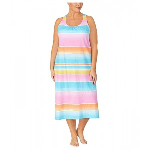 Plus Size Slub Jersey Knit Sleeveless Twisted Back Ballet Gown with Soft Bra