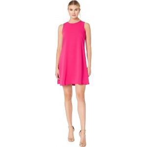 Soft Crepe Sleeveless Trapeze Dress Rhubarb