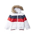 Tommy Hilfiger Kids Color-Block Puffer wu002F Removable Hood (Big Kids) White
