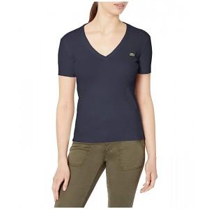 Short Sleeve 1X1 Rib Deep V-Neck T-Shirt