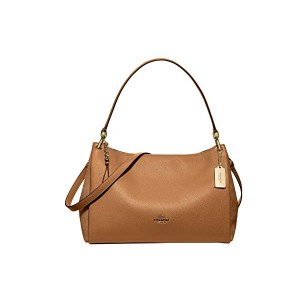 COACH Material Mix wu002F Refined Pebbled Mia Shoulder Bag Light Saddle