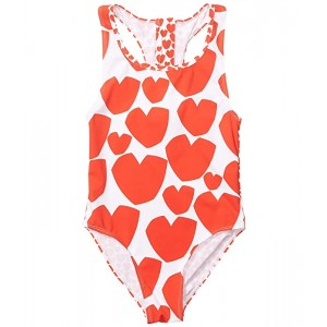 Stella McCartney Kids Heart One-Piece Swimsuit (Toddleru002FLittle Kidsu002FBig Kids) Red White