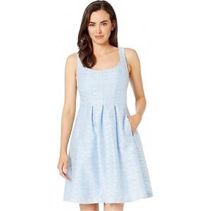 Burnout Metallic Stripe Dress w/ Pleats Surf/White