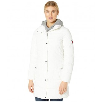 35 Horizontal Puffer w/ Sweatshirt Hooded Inset White