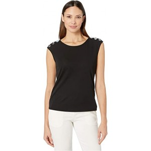 Sleeveless Top with Buttons on Shoulder