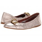 Stanton Ballet with Signature Buckle Champagne Metallic Leather